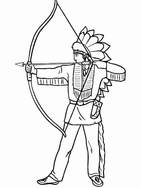native american day native american is firing shortbow on native american day coloring page