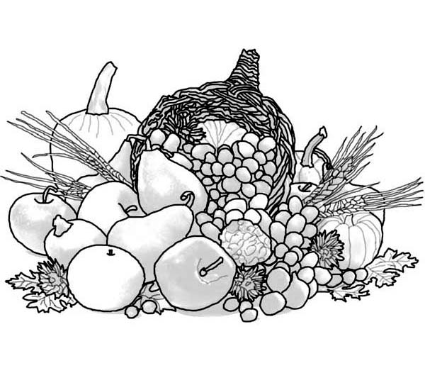 Canada Thanksgiving Day, : All Kind of Fruits for Canada Thanksgiving Day Coloring Page
