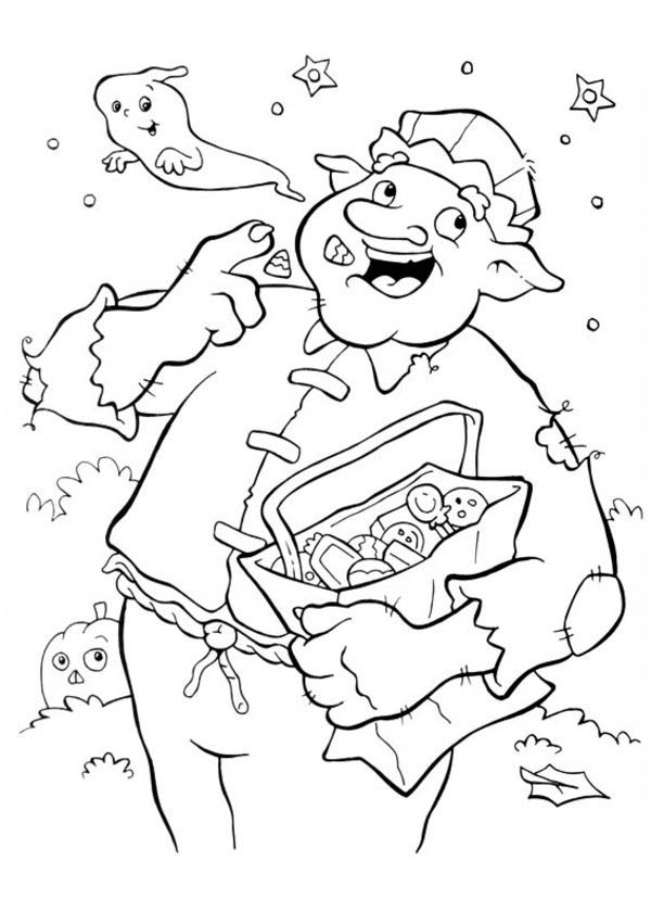 Halloween Day, : Big Spooky Man Eating Candy Treats on Halloween Day Coloring Page