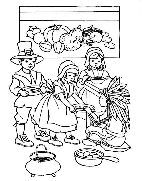 Canada Thanksgiving Day, : Childrens Playing Canada Thanksgiving Day Scene Coloring Page