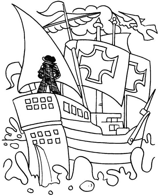 Columbus Day, : Columbus At Stern Of The Ship On Columbus Day Coloring Page