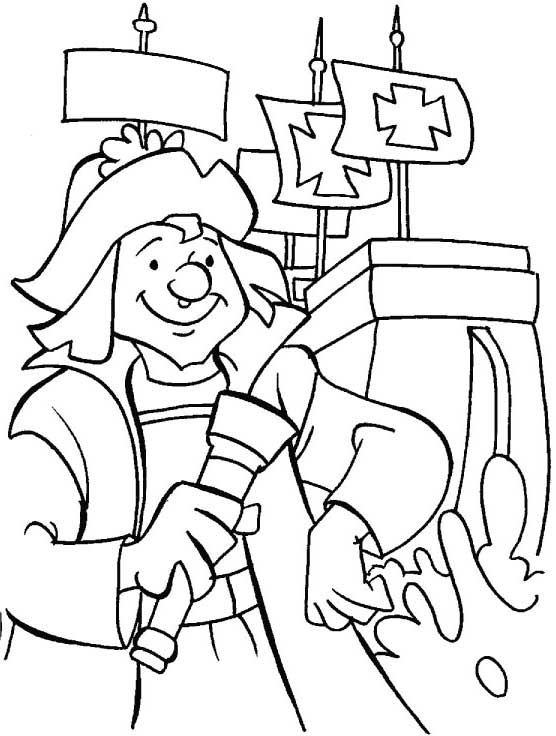 Columbus Day, : Columbus Day Trivia Coloring Page