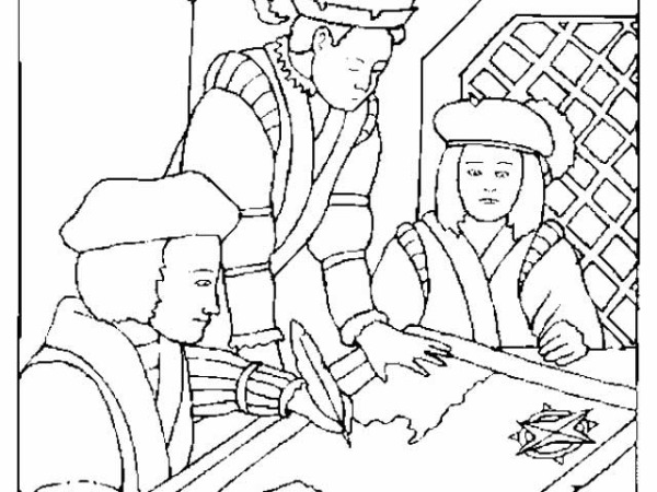 Columbus Day, : Columbus With His Cartographer On Columbus Day Coloring Page