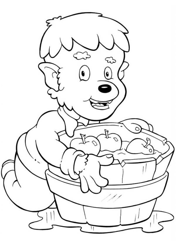 funny young werewolf with a barrel full of apple on halloween day coloring page