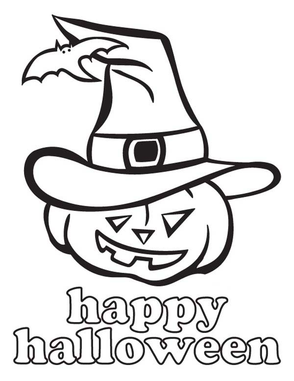 Halloween Day, : Joyful and Happy Halloween Day from Jack O' Lantern Coloring Page