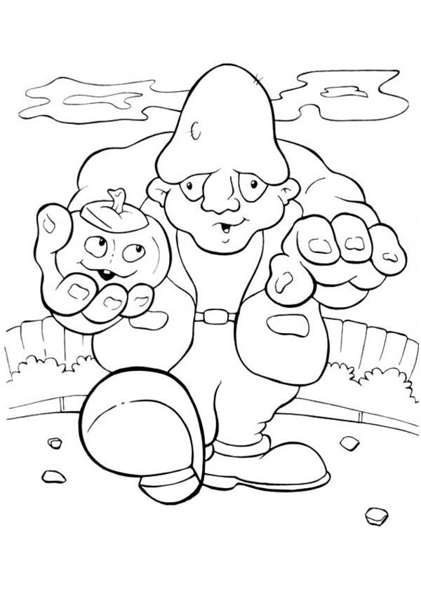 Halloween Day, : Mr Frankenstein with Pumpkin on His Hand on Halloween Day Coloring Page