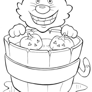 smiling cat and pumpkins on halloween day coloring page - Cheshire Cat Smile Coloring Pages