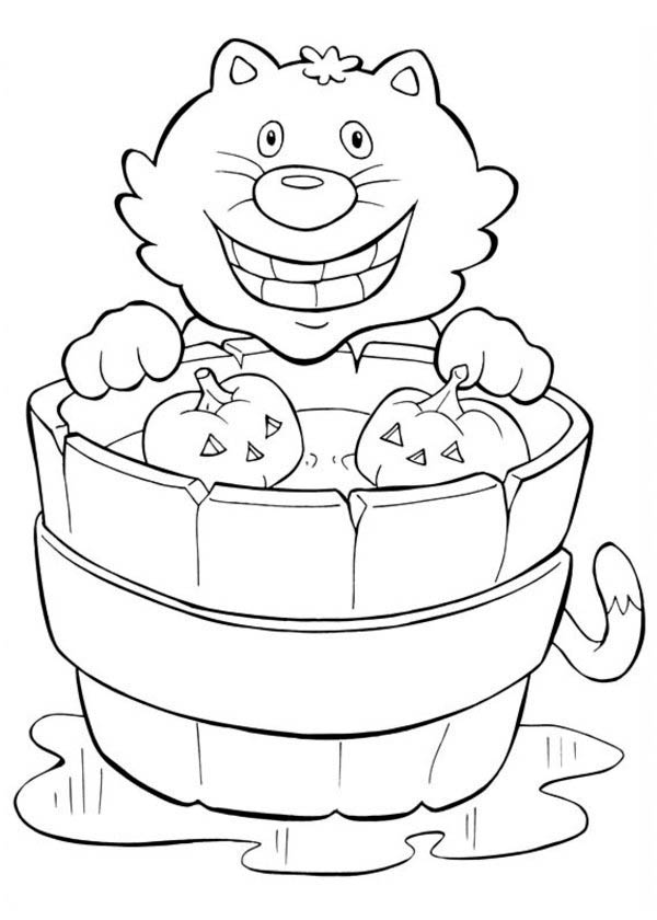Halloween Day, : Smiling Cat and Pumpkins on Halloween Day Coloring Page