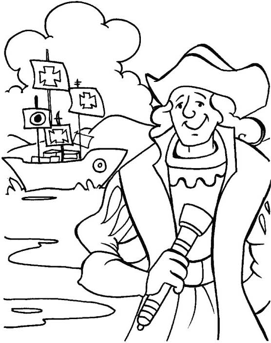 Columbus Day, : Smiling Columbus On Columbus Day Coloring Page
