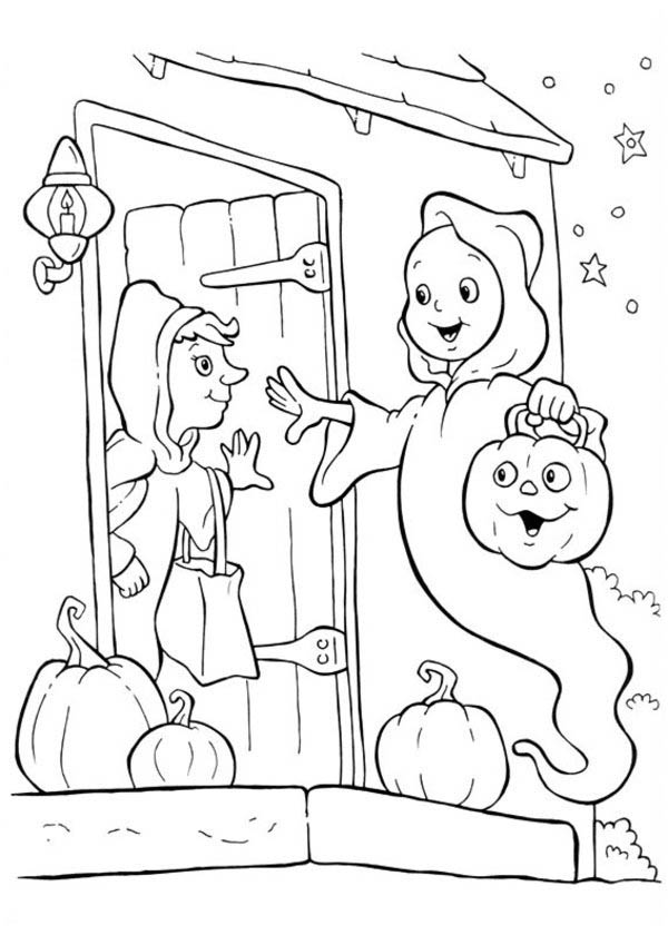 Halloween Day, : White Ghost Trick or Threat on Halloween Day Coloring Page
