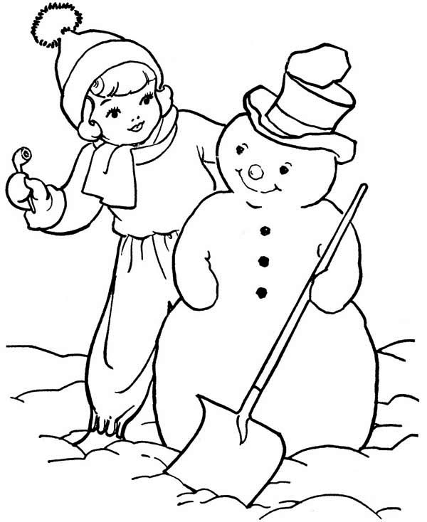 Christmas, : A Little Girl and Mr Snowman on Christmas Coloring Page