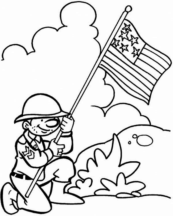 Veterans Day, : A US Soldier Holding the Flags Celebrating Veterans Day Coloring Page
