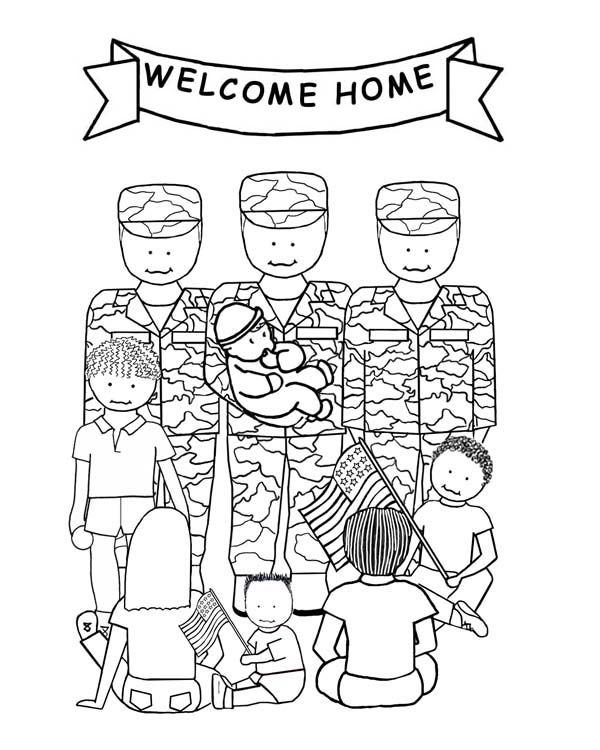 Veterans Day, : Celebrating Veterans Day by Welcoming Soldiers Home Coloring Page