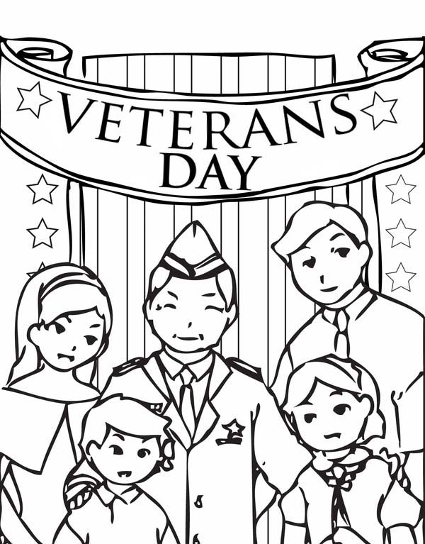 Veterans Day, : Celebrating Veterans Day with Family Coloring Page