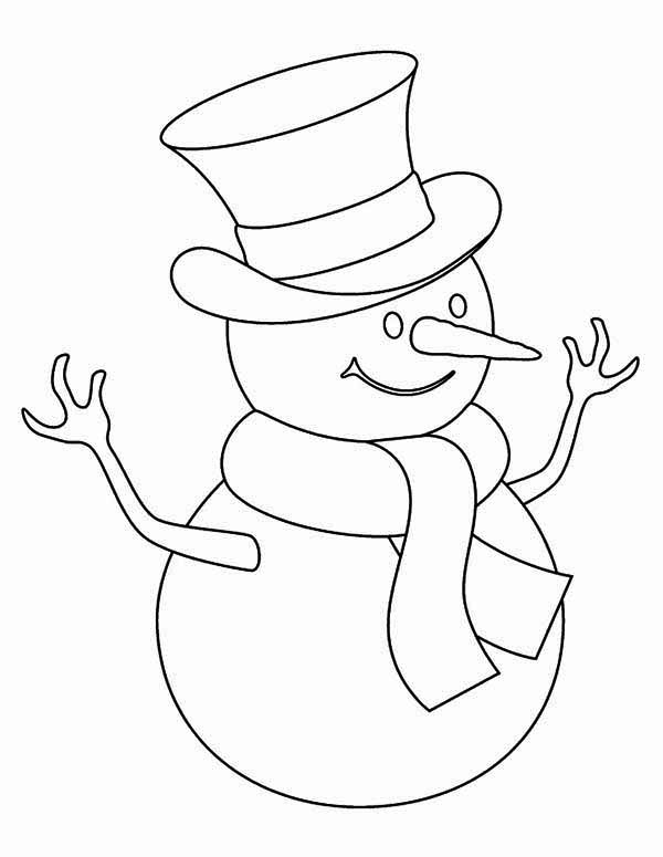 Christmas, : Childrens Drawing of Mr Snowman on Christmas Coloring Page