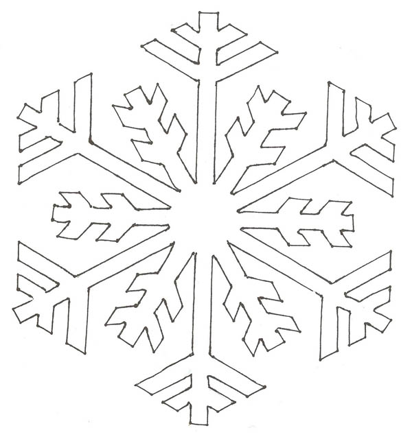 Christmas, : Christmas Snowflakes Simple Pattern Coloring Page