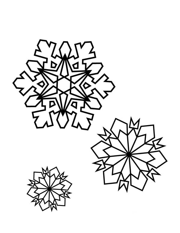 Christmas, : Christmas Snowflakes on Winter Coloring Page