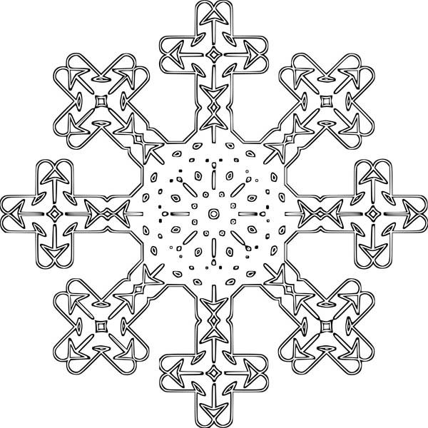 Christmas, : Crucify Christmas Snowflakes Coloring Page