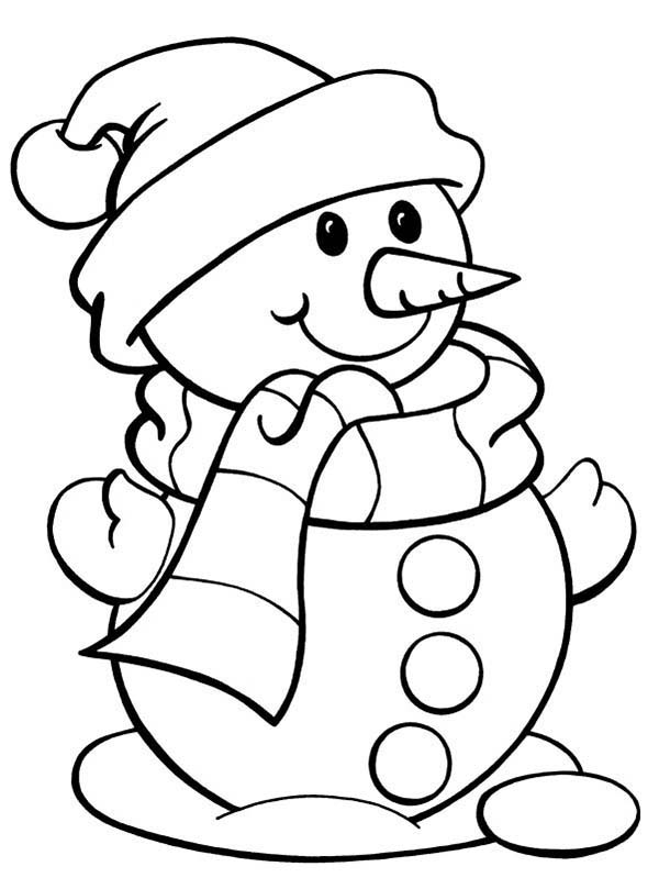 Christmas, : Cute Mr Snowman on Christmas Coloring Page