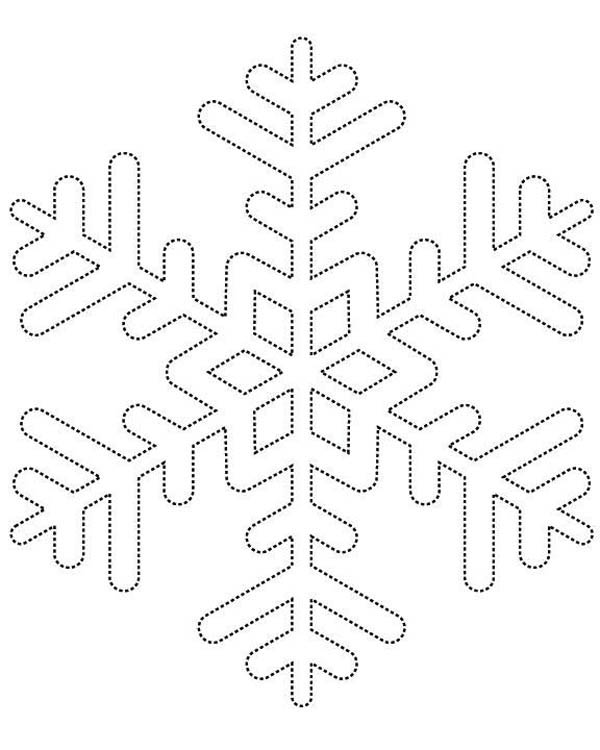 Christmas, : Dotted Line Christmas Snowflakes Coloring Page