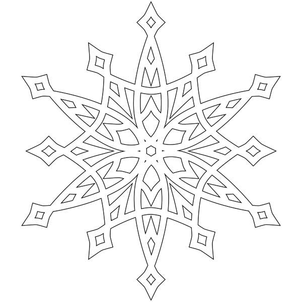 Christmas, : Fancy Christmas Snowflakes Coloring Page