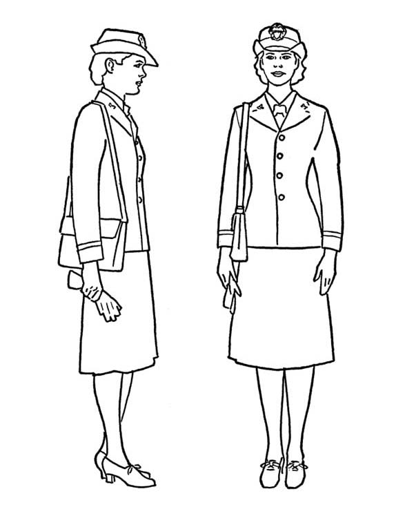 Veterans Day, : Female Naval Officer Celebrating Veterans Day Coloring Page