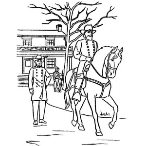 general grant at appomattox celebrating veterans day coloring page