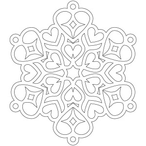 heart shaped christmas snowflakes coloring page