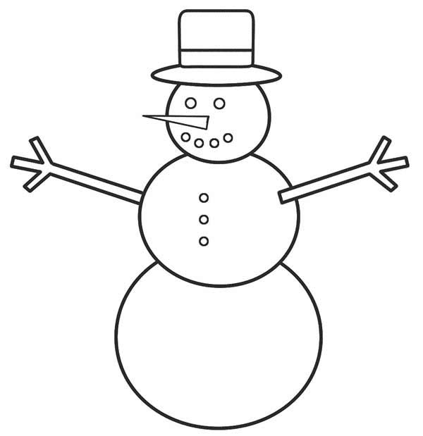 Christmas, : How to Draw Mr Snowman for Christmas Coloring Page