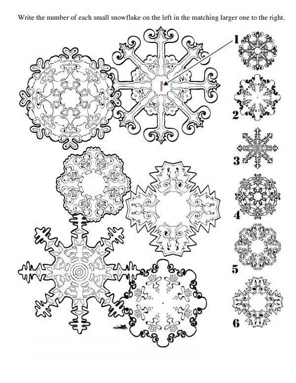 Christmas, : Match Matching Christmas Snowflakes Coloring Page