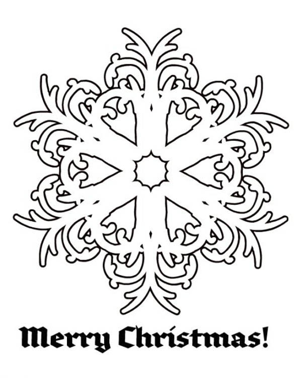 Christmas, : Merry Christmas Snowflakes Coloring Page
