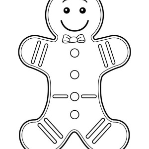 Mr gingerbread men wearing bow tie on christmas coloring page 300x300