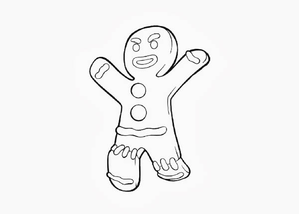 Christmas, : Mr Gingerbread Men is Angry on Christmas Coloring Page