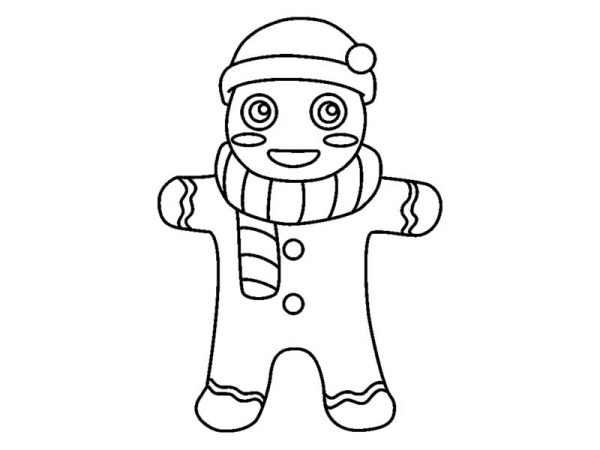 Christmas, : Mr Gingerbread Men with Winter Outfit on Christmas Coloring Page