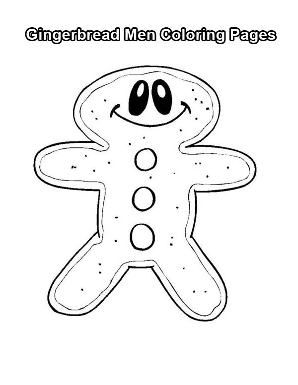 Christmas, : Mr Gingerbread Men with a Big Smile on Christmas Coloring Page
