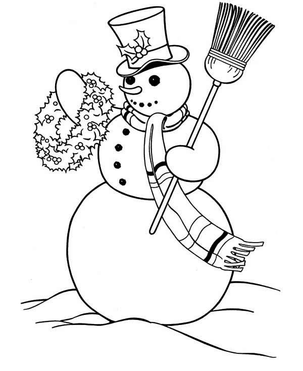 Christmas, : Mr Snowman on Christmas Carrying Flower Arrangement Coloring Page