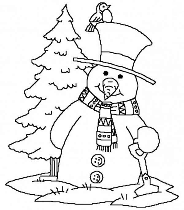 Christmas, : Mr Snowman on Christmas Carrying Shovel Coloring Page