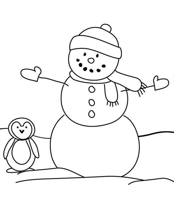 Christmas, : Mr Snowman on Christmas and a Penguin Coloring Page