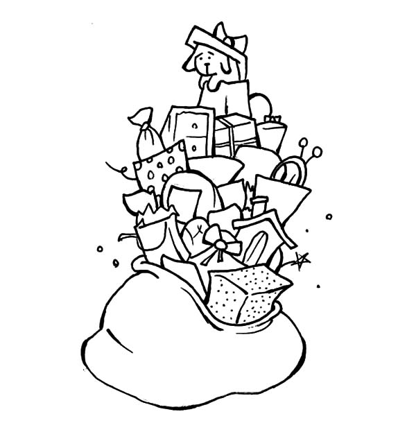 Christmas Presents, : A Bag Full of Christmas Presents Coloring Pages
