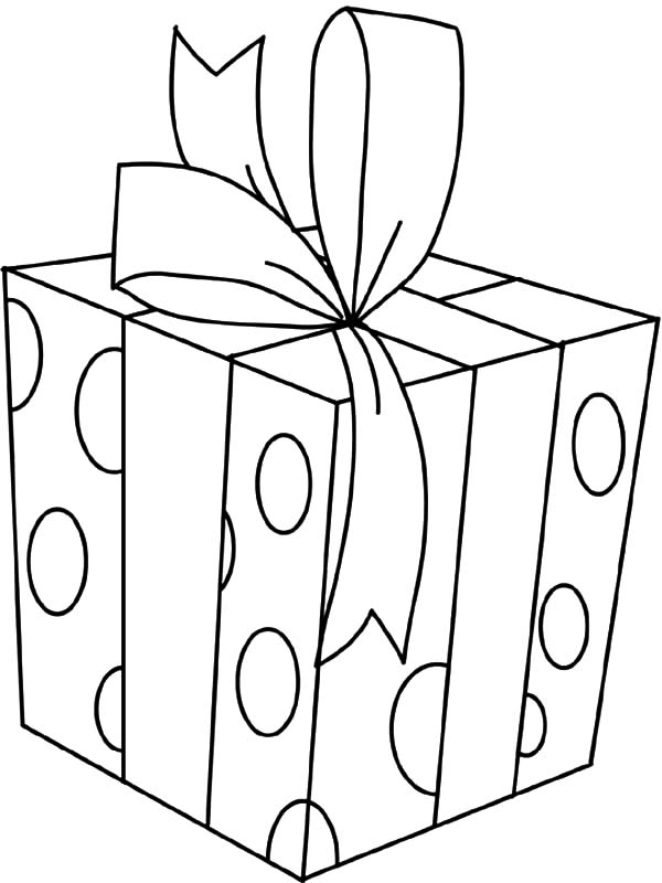 Christmas Presents, : Christmas Presents Covered with Polkadot Paper Coloring Pages