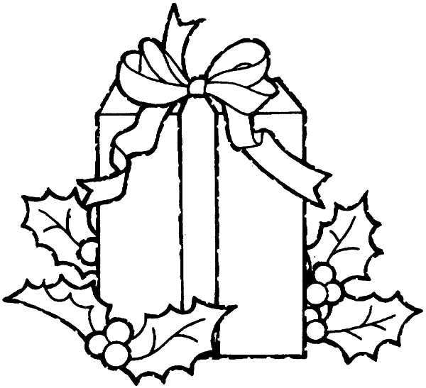 Christmas Presents, : Christmas Presents Decorated with Leaves Coloring Pages