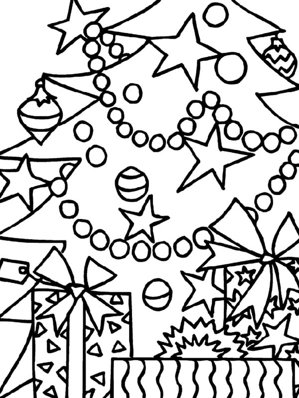 Christmas Presents, : Christmas Presents Under Christmas Tree Coloring Pages