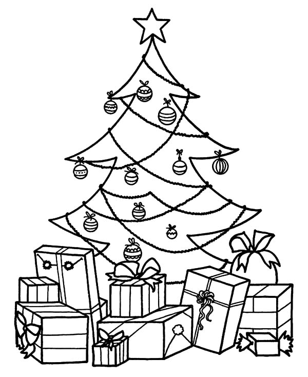 Christmas Presents, : Christmas Tree and Christmas Presents Coloring Pages