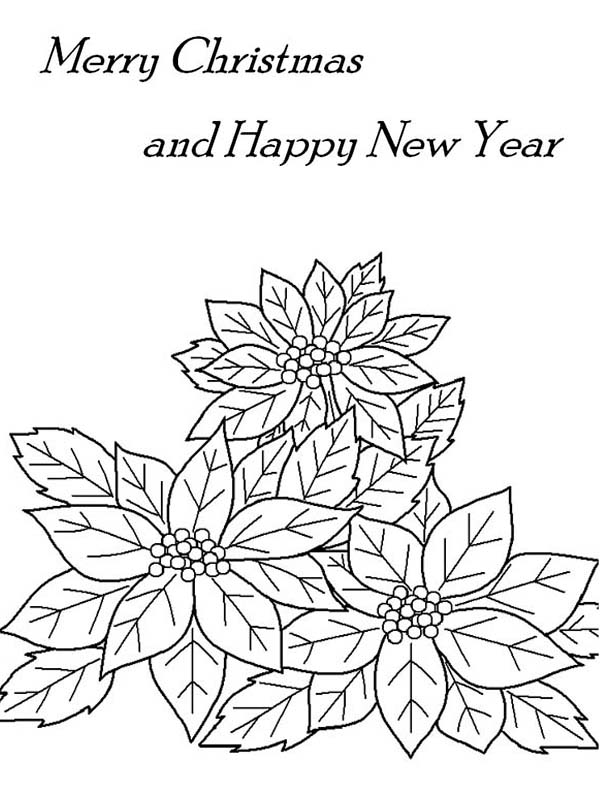 National Poinsettia Day, : Christmas and New Year After National Poinsettia Day Coloring Page
