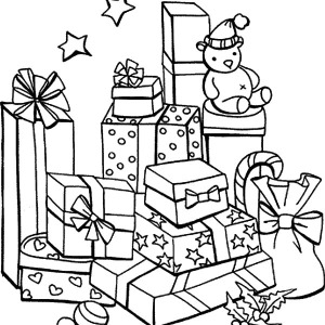 mountain of christmas presents coloring pages