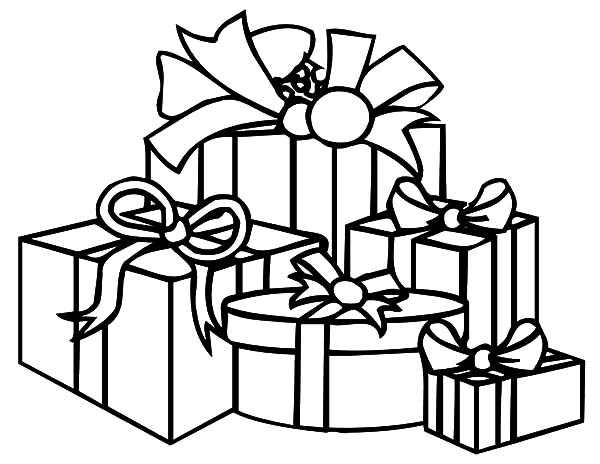 Christmas Presents, : Various Shape of Christmas Presents Coloring Pages