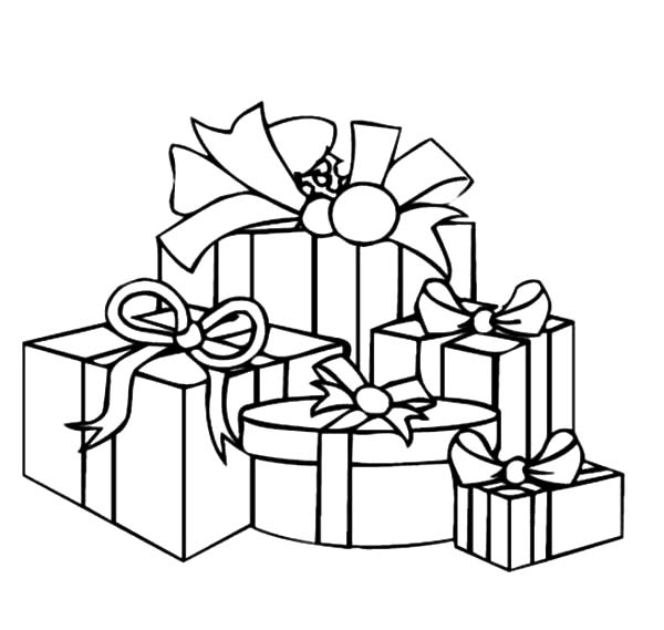 Christmas Presents, : Various Size of Christmas Presents Coloring Pages