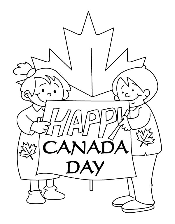 National Canada Day, : Childrens Make Sign for National Canada Day Coloring Pages