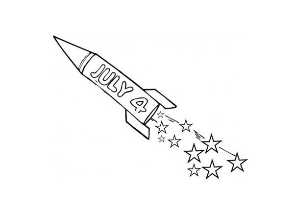 Independence Day, : Fireworks Rocket Independence Day Coloring Page