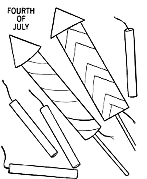 Independence Day, : Fireworks and Firecrack for Independence Day Coloring Page